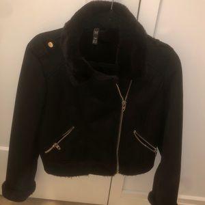 Zara fur lined biker coat